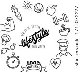 set of hand drawn healthy... | Shutterstock .eps vector #1715072227
