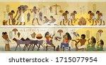 ancient egypt frescoes....   Shutterstock .eps vector #1715077954