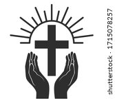 hands with shining holy cross....   Shutterstock .eps vector #1715078257