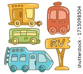 recreational vehicle and camper ... | Shutterstock .eps vector #1715098504