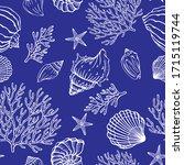 seamless pattern with seashells ... | Shutterstock .eps vector #1715119744