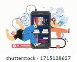 audio media and books  vector... | Shutterstock .eps vector #1715128627