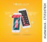 shopping online on website or...   Shutterstock .eps vector #1715147824