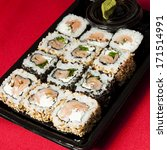 sushi mix on a plastic tray | Shutterstock . vector #171514991