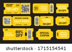 yellow discount coupon set....   Shutterstock .eps vector #1715154541