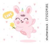 cute bunny vector rabbit horn... | Shutterstock .eps vector #1715229181