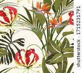 tropical jungle plants  exotic... | Shutterstock .eps vector #1715231791