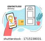 contactless delivery concept.... | Shutterstock .eps vector #1715238031