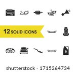 details icons set with car beep ...