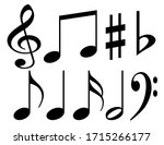 black musical notes on a white... | Shutterstock . vector #1715266177