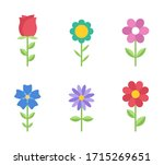 flowers flat icons. color...