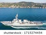Uss navy destroyer transits Istanbul Strait, Turkey