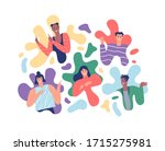 diverse people portrait set in... | Shutterstock .eps vector #1715275981