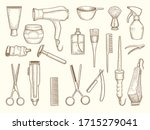 barber shop collection. drawing ... | Shutterstock .eps vector #1715279041