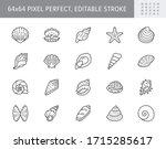 seashell  oyster  scallop line... | Shutterstock .eps vector #1715285617