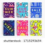 set of summer poster. bright... | Shutterstock .eps vector #1715293654