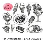 ice cream set. ink sketch... | Shutterstock .eps vector #1715306311