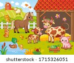 farm with animals in cartoon... | Shutterstock .eps vector #1715326051