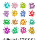 virus  icons  set  color. funny ... | Shutterstock . vector #1715350531