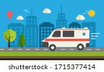 ambulance car rides on the city ... | Shutterstock .eps vector #1715377414
