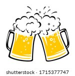 two hand drawn clinking beer... | Shutterstock .eps vector #1715377747