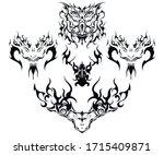 fantastic creatures deer and... | Shutterstock .eps vector #1715409871