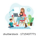 home office concept. woman... | Shutterstock .eps vector #1715437771