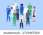 group of multicultural medicine ... | Shutterstock .eps vector #1715467324