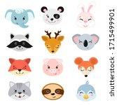 animal heads illustrations set. ... | Shutterstock .eps vector #1715499901