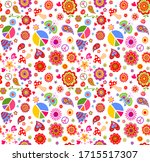 seamless funny wallpaper with... | Shutterstock .eps vector #1715517307