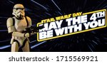 Small photo of APRIL 26 2020: Star Wars Day concept - May the Fourth Be With You with a Stormtrooper - Hasbro action figure