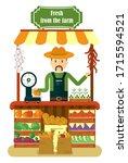 the friendly farmer sells... | Shutterstock . vector #1715594521