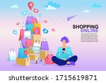 shopping online concept.... | Shutterstock .eps vector #1715619871