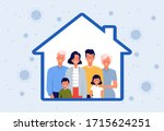people stay at home. concept of ... | Shutterstock .eps vector #1715624251