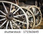 Old Wagon Wheels At A Farm