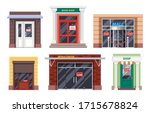 shop entrance doors with closed ... | Shutterstock .eps vector #1715678824