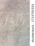 """""""1819"""" carved in stone – a detail of an inscription produced that year"""