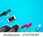 flat lay photo of fitness... | Shutterstock . vector #1715739307