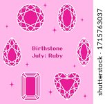 july birthstone  ruby... | Shutterstock .eps vector #1715763037