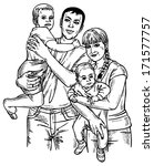 image of happy family of four.... | Shutterstock .eps vector #171577757