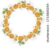 wreath of orange pumpkin  ears...   Shutterstock .eps vector #1715800354