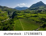 Small photo of Aerial view of improbable green vineyards around the wine-making farm, meadows of Italian Alps, Trentino, green slopes of the mountains, roof tops of houses, sunny weather