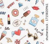 vector sketch comic fashion... | Shutterstock .eps vector #1715820961