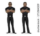 black man security guard of...