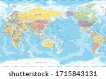 world map   pacific view   asia ... | Shutterstock .eps vector #1715843131