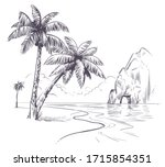palm tree landscape. sketch... | Shutterstock .eps vector #1715854351