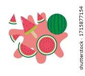 watermelon popsicle  watermelon ... | Shutterstock .eps vector #1715877154
