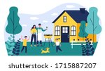 happy family doing barbecue at...   Shutterstock .eps vector #1715887207