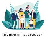 happy big family standing... | Shutterstock .eps vector #1715887387