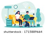 family suffering from social... | Shutterstock .eps vector #1715889664